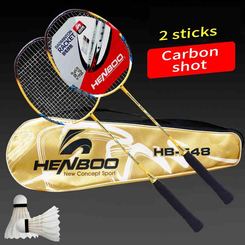 HENBOO Standard Lightweight Badminton Set Durable Carbon Aluminum Training Badminton Racket With Tote Bag Sports Equipment  2548