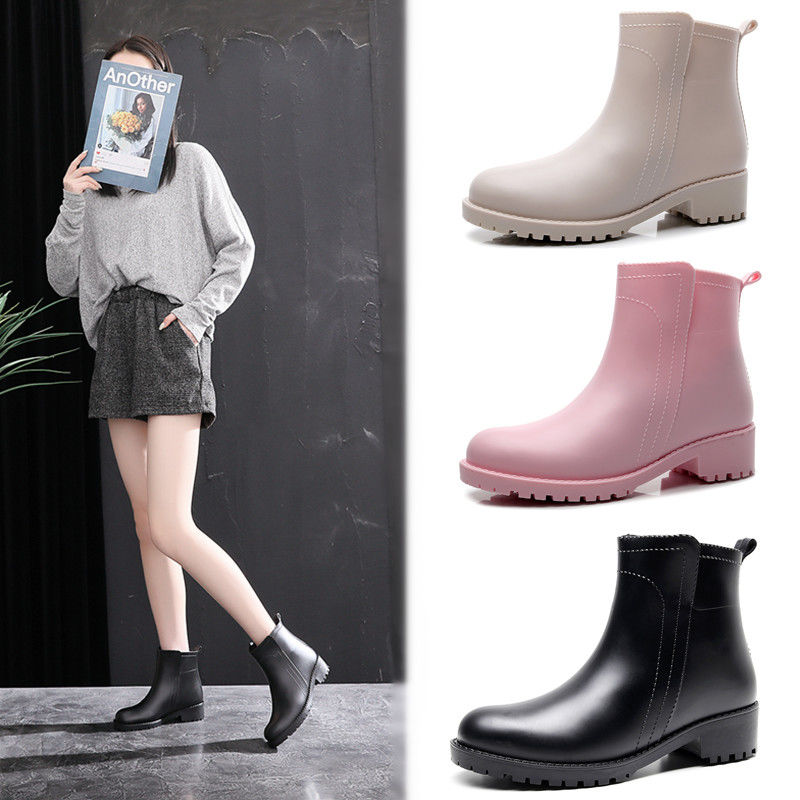 Chelsea Rain Shoes Woman Rain Boots Rubber Boot Non-slip Water Shoes Female  Galoshes Overboot For Adult Summer Beige Pink Black