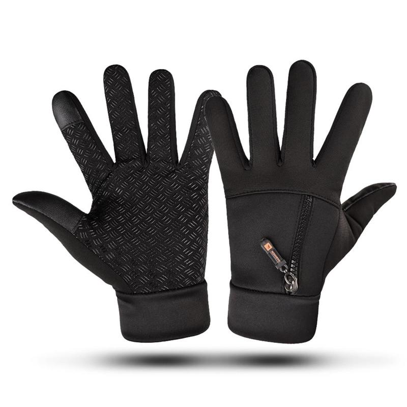 Touch Screen Winter Gloves Waterproof Gloves Men Women Zipper Riding Windproof Warm Fleece Mittens Skiing Cycling Riding Glove