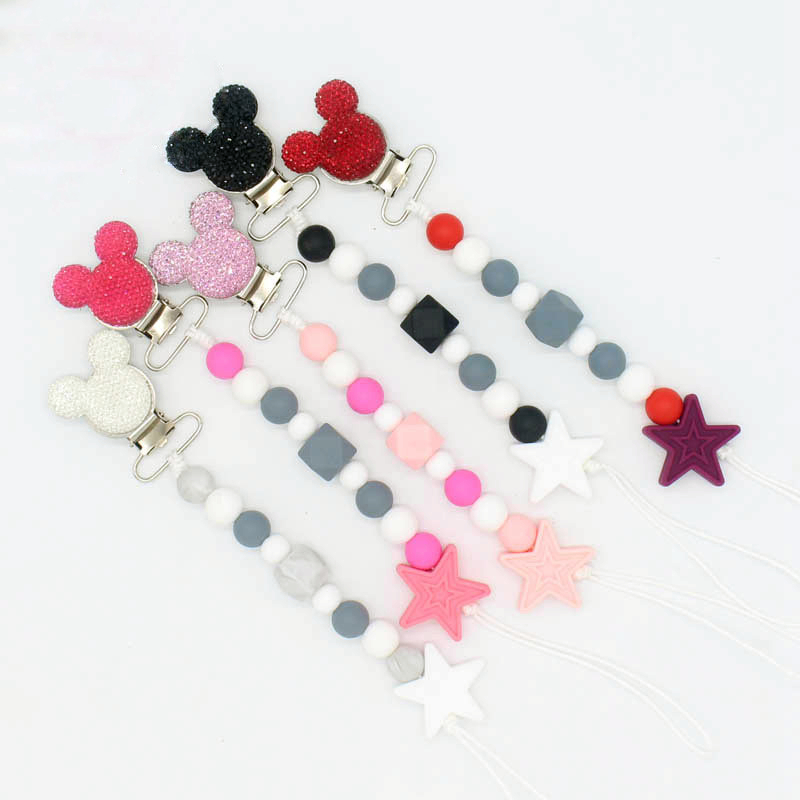 Bling Bling Pacifier Clip Baby Boy Girl Pacifier Holder Chain Chewable Food Grade Silicone Beads Infant Pacifier Clip