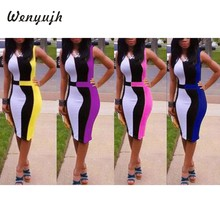 Wenyujh Women's Tight Dress 2019 Ladies Casual Fashion Sleeveless Solid Color O-neck Pencil Polyester Dress vestido verano mujer(China)