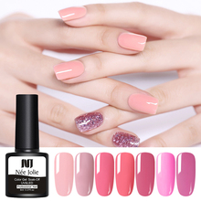 NEE JOLIE 8ml Pink Series Nail Gel Polish Semi Permanent Vernis UV LED Varnish Soak Off Art Accessories