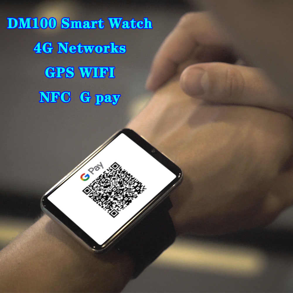 DM100 4G 스마트 시계 전화 안드로이드 7.1 NFC 3 기가 바이트 32 기가 바이트 5MP 카메라 480*640 해상도 2700mah 배터리 2.86 인치 화면 Smartwatch 남자