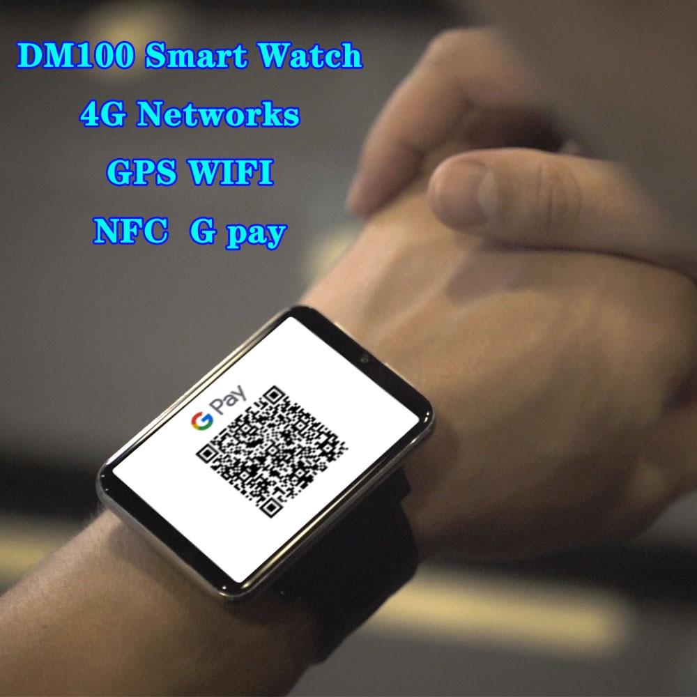 DM100 4G Smart Watch Phone Android 7.1 NFC 3GB 32GB 5MP Camera 480*640 Resolution 2700mah Battery 2.86Inch Screen Smartwatch Men