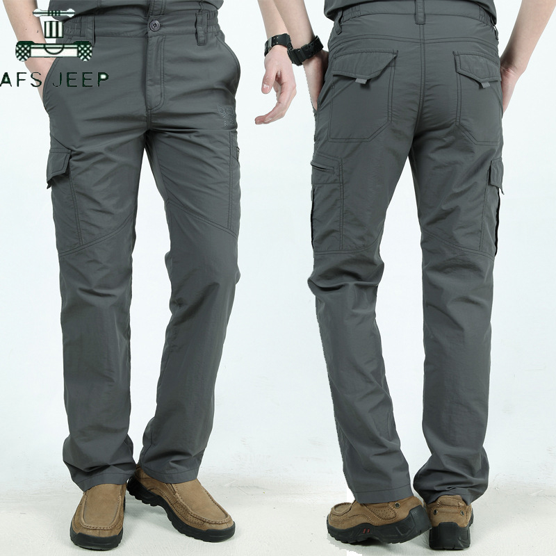 AFS JEEP Brand Quick Dry Casual Pants Men Summer Autumn Army Military Tactical Cargo Pants Male Lightweight Waterproof Trousers