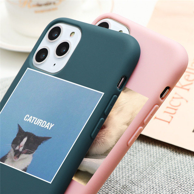 Cute Cat Dog Animals Case For iPhone 7 8 6 6s Plus 5 5S SE 2020 Candy Color Soft Cover For iPhone 12 11 Pro XS Max XR X TPU Case 4