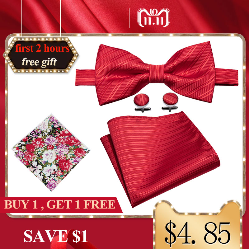 Wedding Bowtie For Men Solid Red Bows Adjustable Butterfly Ties Bow Pre-Tied Bowtie Pocket Square Cufflinks Set Barry.Wang