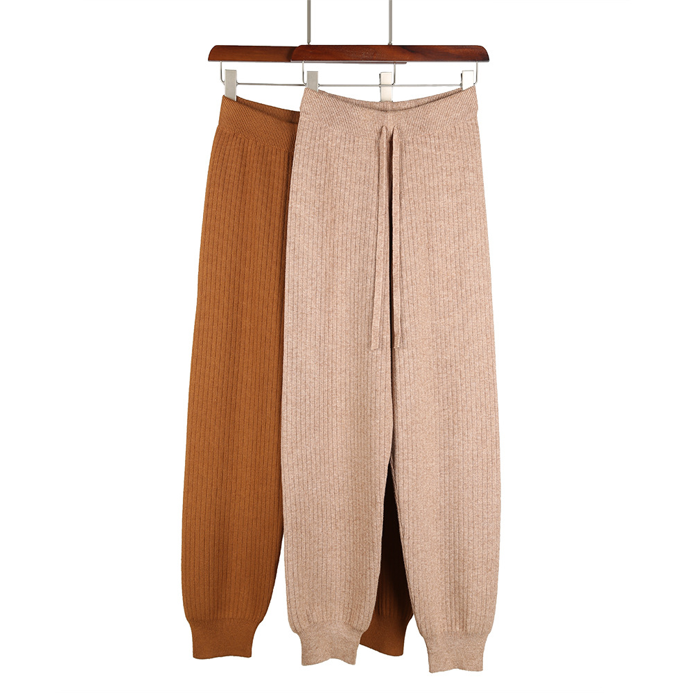 HLBCBG Women Casual Harem Pants Loose Trousers For Women Knitted Pants Autumn Winter Solid Color Sweater Trousers With Pockets