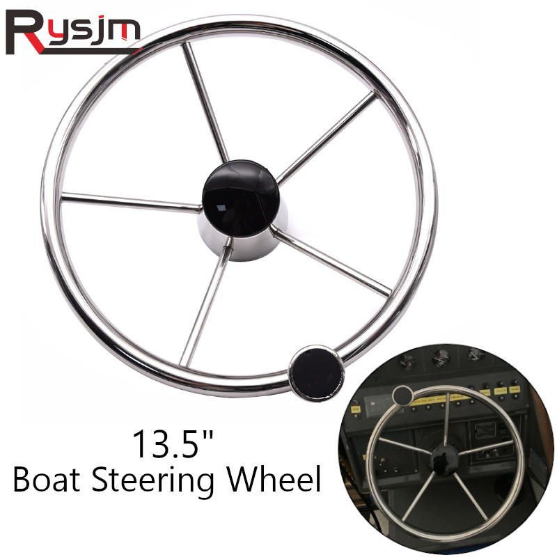316 Stainless Steel 13.5inch Boat Steering Wheel 5 Spokes Marine Yacht With Knob Steering Wheels For Marine Boat 25 Degree