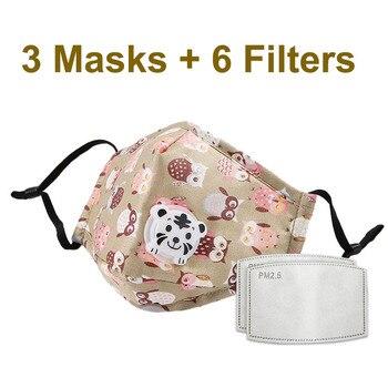 3 PCS Del Fumetto PM2.5 Bambini Maschera Maschera Con 6 Filtri Respiro Bocca Valvola Viso Maschera Per Bambini Lavabile Maschera Maschera di Polvere a prova di sterile In Magazzino 17