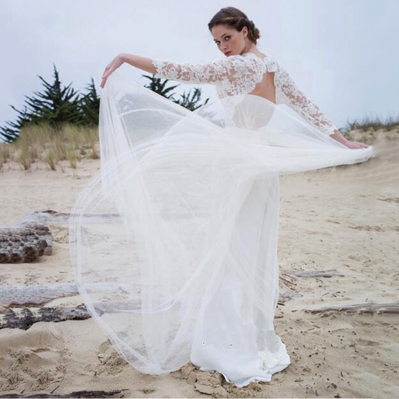 SoDigne 3/4 Sleeves Wedding Dress 2019 Lace Top Bridal Gowns Lace Appliques White/ivory Romantic Chiffon Boho Wedding Gowns