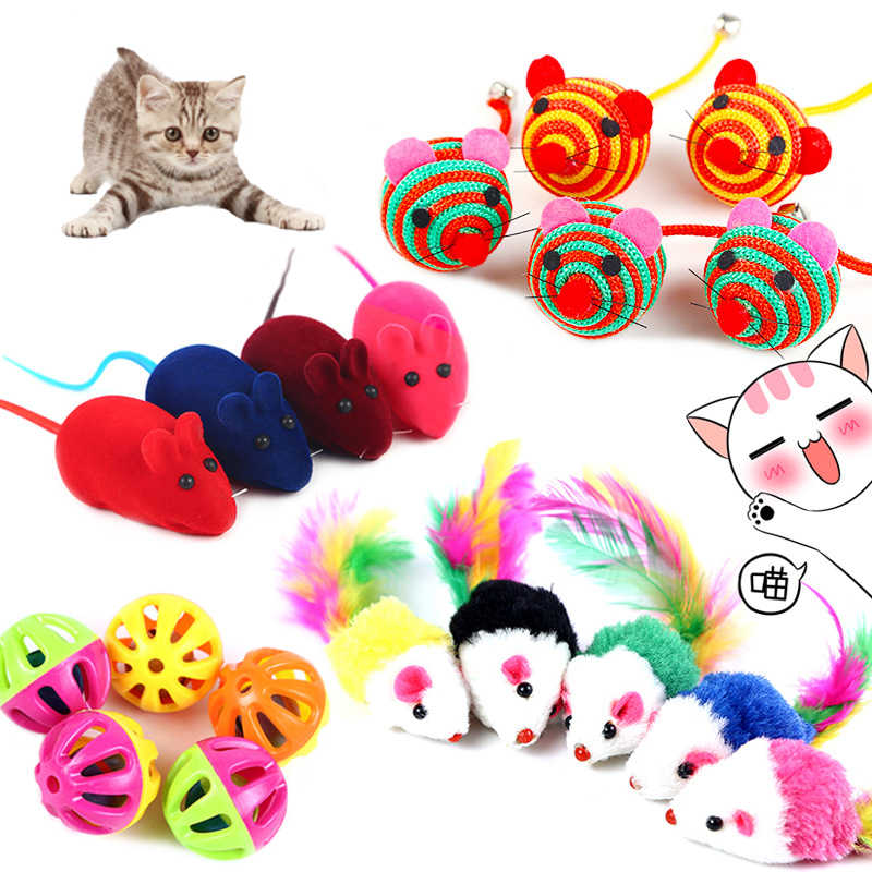 Kucing Interaktif Mainan Tongkat Bulu Tongkat dengan Bel Kecil Mouse Kandang Plastik Buatan Warna-warni Kucing Teaser Mainan Hewan Peliharaan