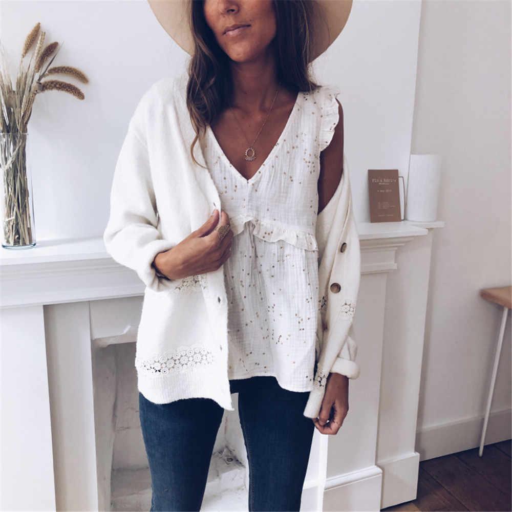 Tricoté Cardigan pull femmes 2019 printemps évider solide fond droit vêtements pull mode Cardigan pour femme