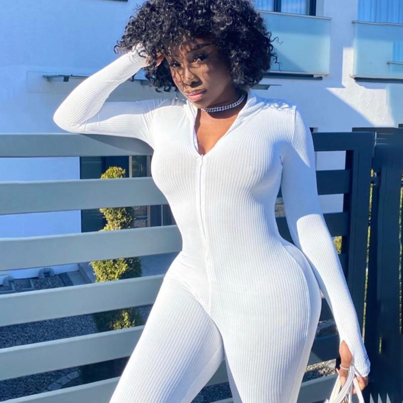 Casual Ribbed Playsuit Women Long Sleeve Jumpsuit Biker Shorts Tracksuit Elegant Femme Turtleneck Bodysuit 2020 Slim White