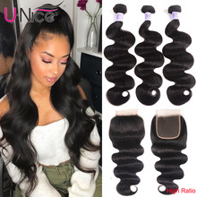 "UNice Hair Kysiss Series Human Hair Bundles with Closure Indian Hair Weave Body Wave 3 Bundles with Closure 8-30"" Virgin Hair(China)"