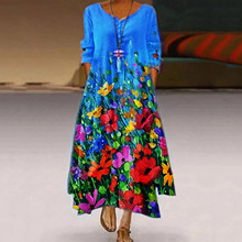 Maxi Dress Plus-Size Elegant Long Vintage Casual Women for Holiday O-Neck Print Bohemian