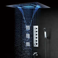 600*800mm LED Shower Head Misty Waterfall Rainfall Showerhead Spa Thermostatic Shower Faucets Bathroom Shower Spray Jets Brass