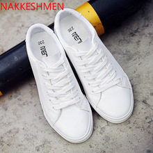 2019 new spring lace-up white shoes flat-bottomed womens casual
