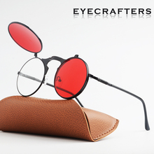 New 2019  Fashion Flip Up Lens Steampunk Vintage Retro Style Round Sunglasses Spring Legs Clamshell Double Eyewaer