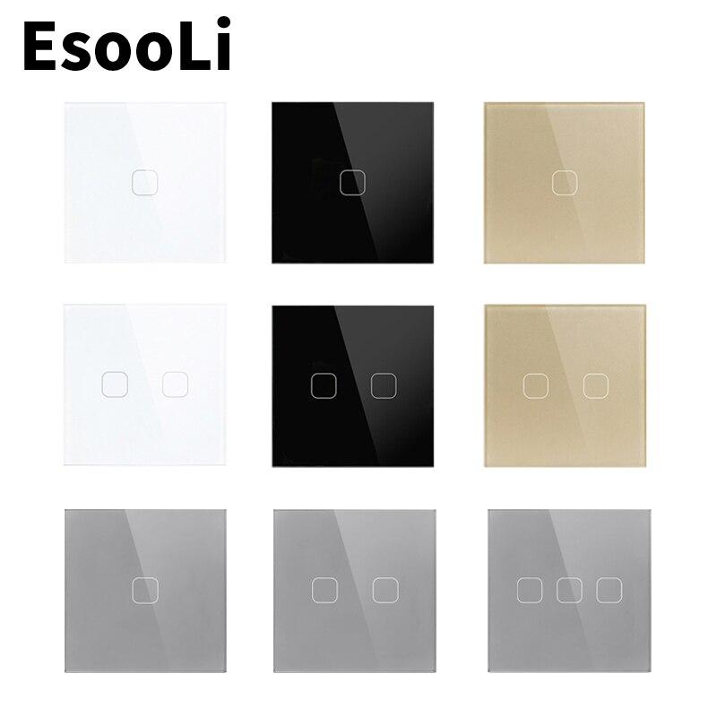 EsooLi Wall Touch Sensor Switch,EU/UK  Standard Light Switch,Crystal Glass Switch Power,1/2/3 Gang 1 Way,AC220,Light Wall Touch