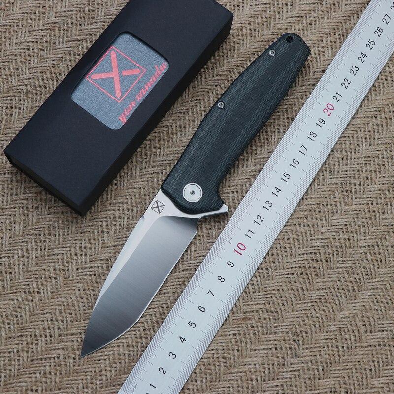 YX751 couteau à rabat roulement à billes 14C28N lame Micarta + poignée en acier Camping en plein air polyvalent Portable chasse EDC outil