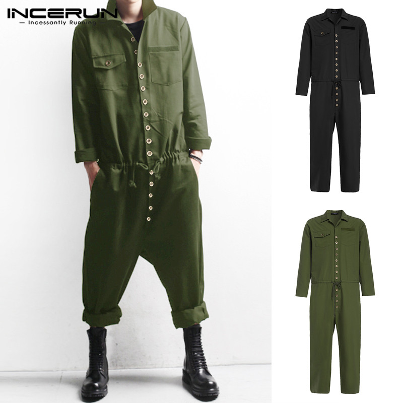INCERUN Men Cargo Overalls Streetwear Rompers Lapel Long Sleeve Button Casual Solid 2019 Pockets Men Pants Casual Jumpsuit S-5XL