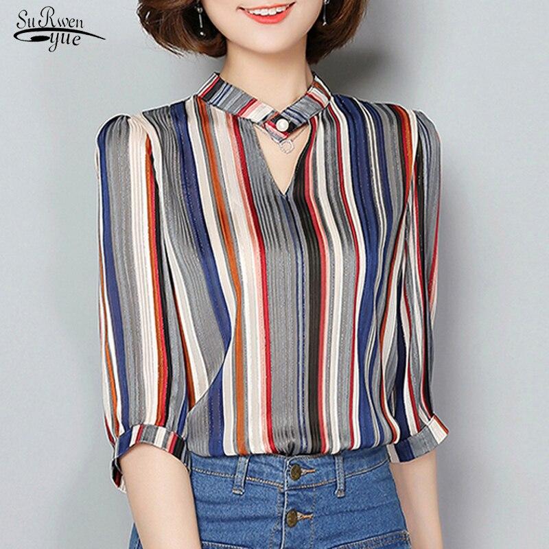 2021 Summer Ladies Tops New V-neck Striped Loose Blouse Women Half Sleeves Chiffon Women's Shirts Blusas Mujer De Moda 5808 50