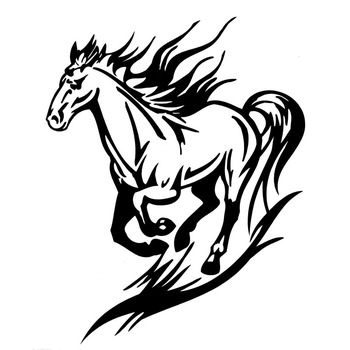 Car Sticker Fashion Pentium Horse Decals Waterproof and Sun Proof PVC Reflective Car Sticker Black/silver 15.2* 18.9cm image