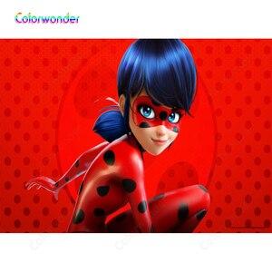 Мультфильм фотографии девушка с синими волосами, лабычий костюм 7x5ft Дети День рождения красный фон с черным горошек фон в горошек