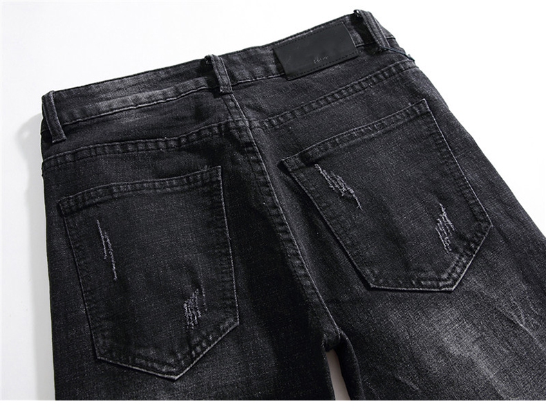 Black Ripped Jeans Men Slim Fit Stretch Fashion Embroidered Patterns Distressed Streetwear Hip HiP