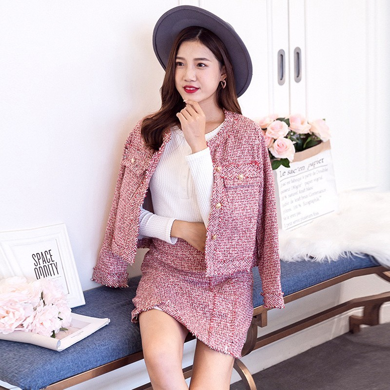 Fashion Single Breasted Long Sleeve O-Neck Short Jackets High Waist Wrap Skirts Womens Slim Fit Tassel Tweed Two Piece Outfits
