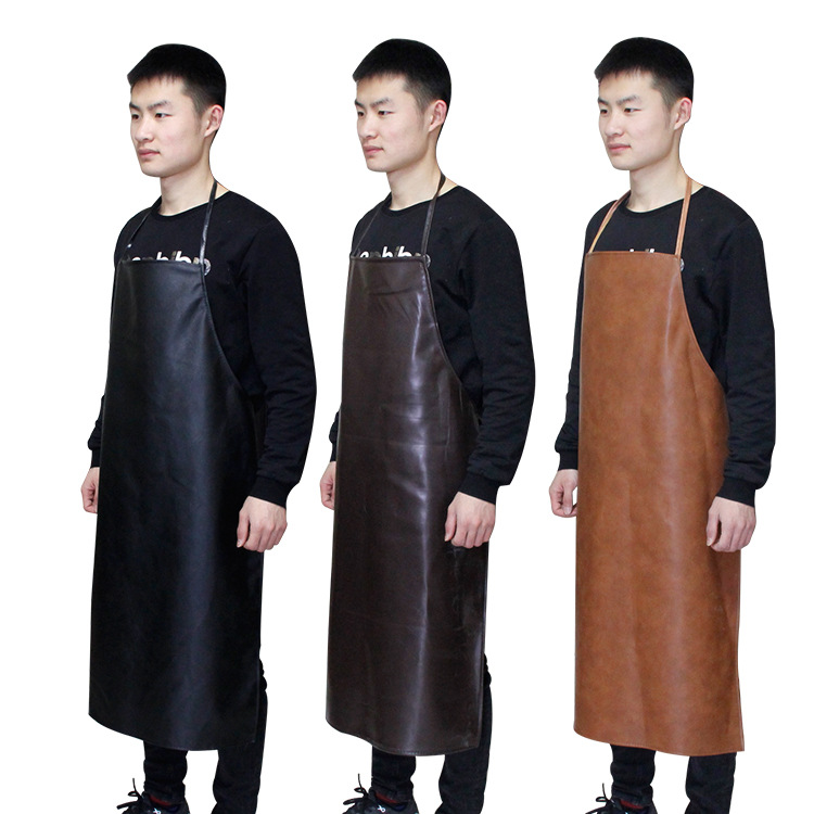 Pu Black And White With Pattern Brown Oil Resistant Waterproof Oil-Resistant Acid And Alkali Resistant Apron Labor Safety Indust