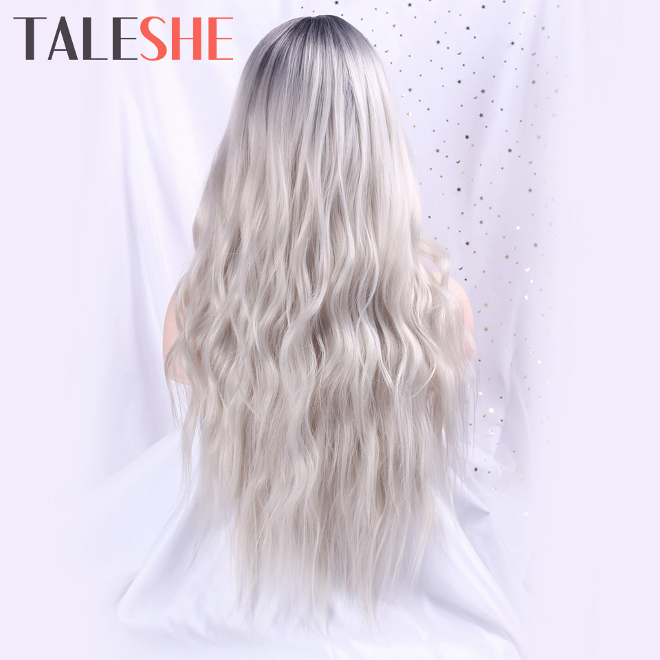 Long Womens Wigs Ombre Platinum Blonde Wigs Heat Resistant Synthetic Wavy Wigs For African American Women Cosplay Natural