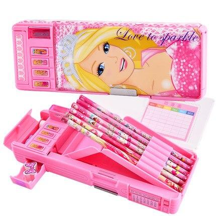 Barbie Pencil Case Multi-functional Pencil Case Stationery Box Children Plastic Pencil-box