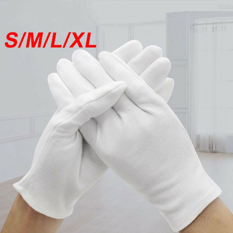 6 Pairs Unisex Handling Work Hands Protector Soft Costume Jewelry Silver Inspection Cotton White Gloves