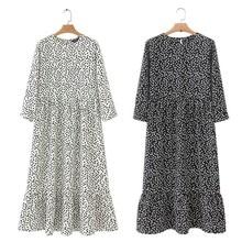 women dots print maxi dress pleated three quarter sleeve female casual straight