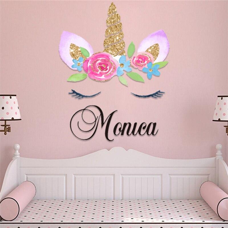 Pegatinas de pared coloridas personalizadas con el nombre de los niños, pegatinas para la habitación del chico con diseño moderno de dibujos animados de unicornios bonitos Adhesivos para pared    - AliExpress