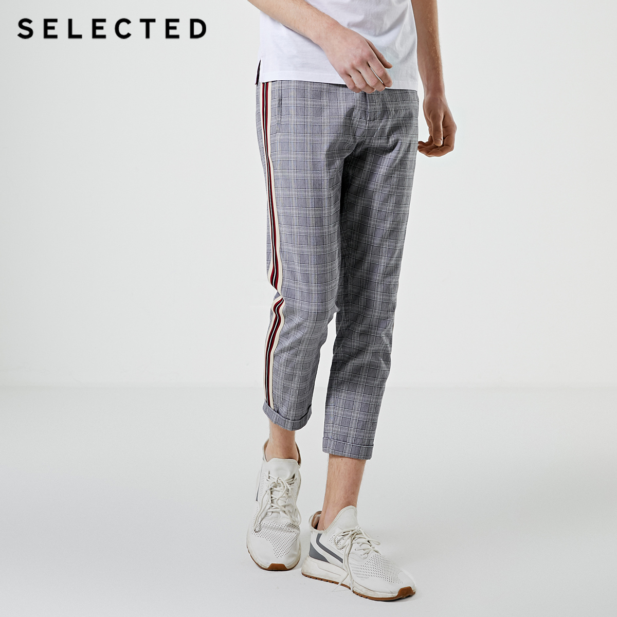 SELECTED Men's Autumn Striped Plaid Tapered Crop Pants S|419214552