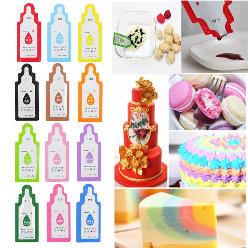 12Pcs Edible Food Pigment Coloring Healthy Safe Fondant Cake Decorating Tools Macaron Cream Cake Baking Pastry Tools