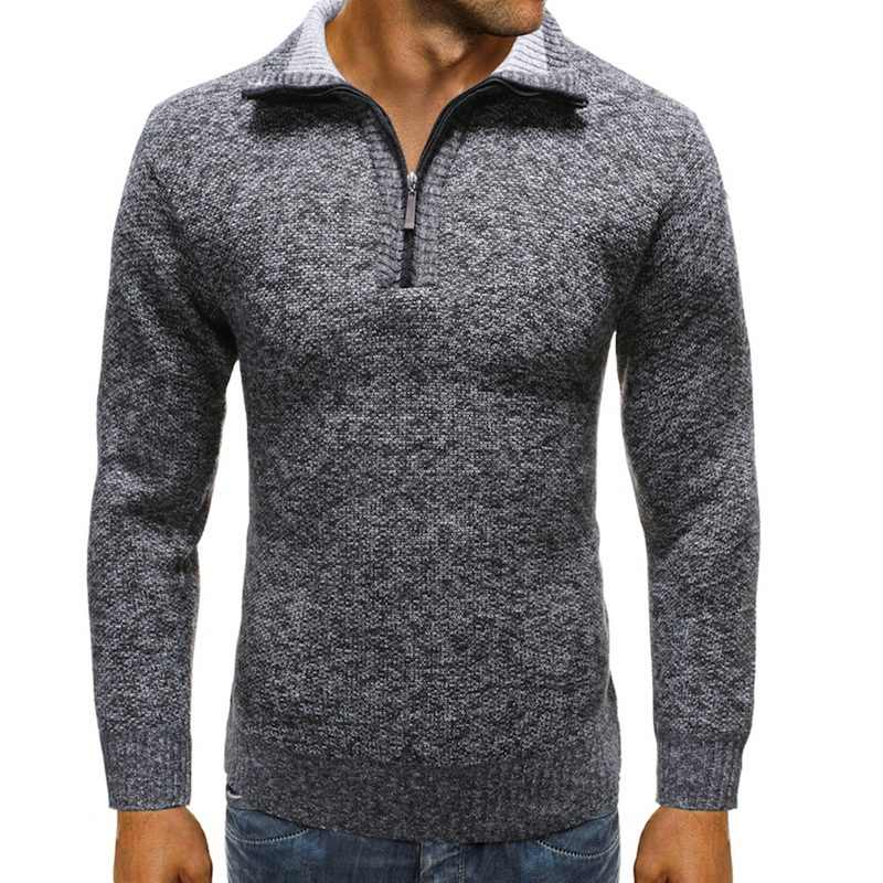 Sweater Men Jacket Solid Color Sweaters Knitwear Warm Sweatercoat Casual 1/4 Zip Stand Collar Pullovers Men Clothing