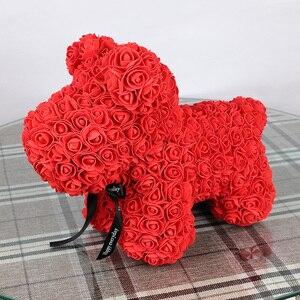 Image 4 - 40cm Rose Hond Multicolor Foam Teddybeer Rose Vriendin Valentijnsdag Verjaardagscadeau Partij Decoratie Kunstmatige Bloemen