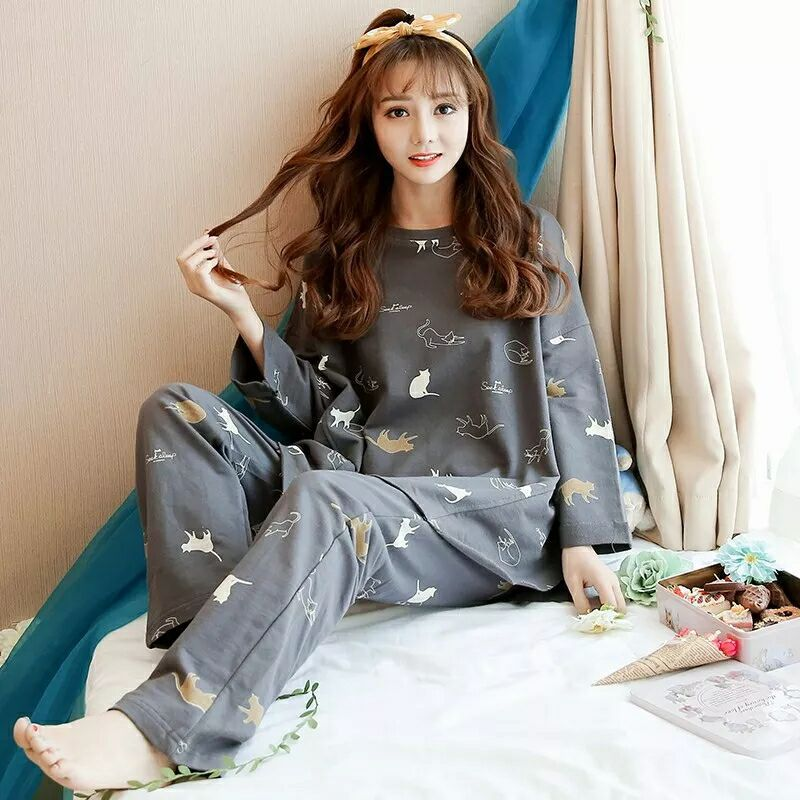 Womens Pajamas Sets O-Neck Long Sleeve Suit Cartoon Loose Girls Sleepwear Autumn Winter Pijamas Suit Home Clothes Pyjama Femme