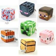 Porte-clés créatif avec périphériques Minecraft pour garçons et filles, pendentif en flanelle, pour sac d'alex Steve Kawaii, cadeau d'anniversaire et de noël pour enfants