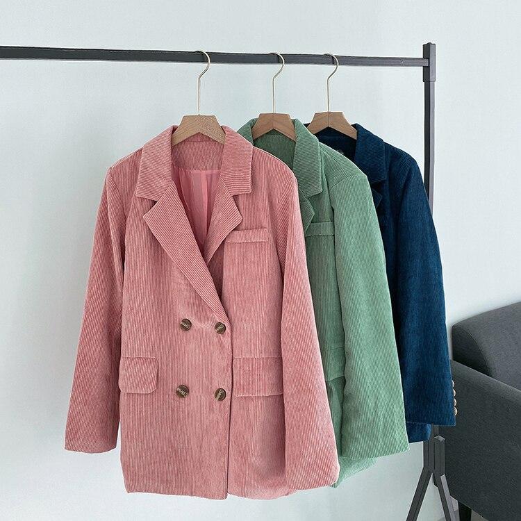 Plus Size 4XL Loose Double Breasted Women Blazer Pockets Jacket Female Retro Suits Coat OL Corduroy Blazers Outerwear WB69