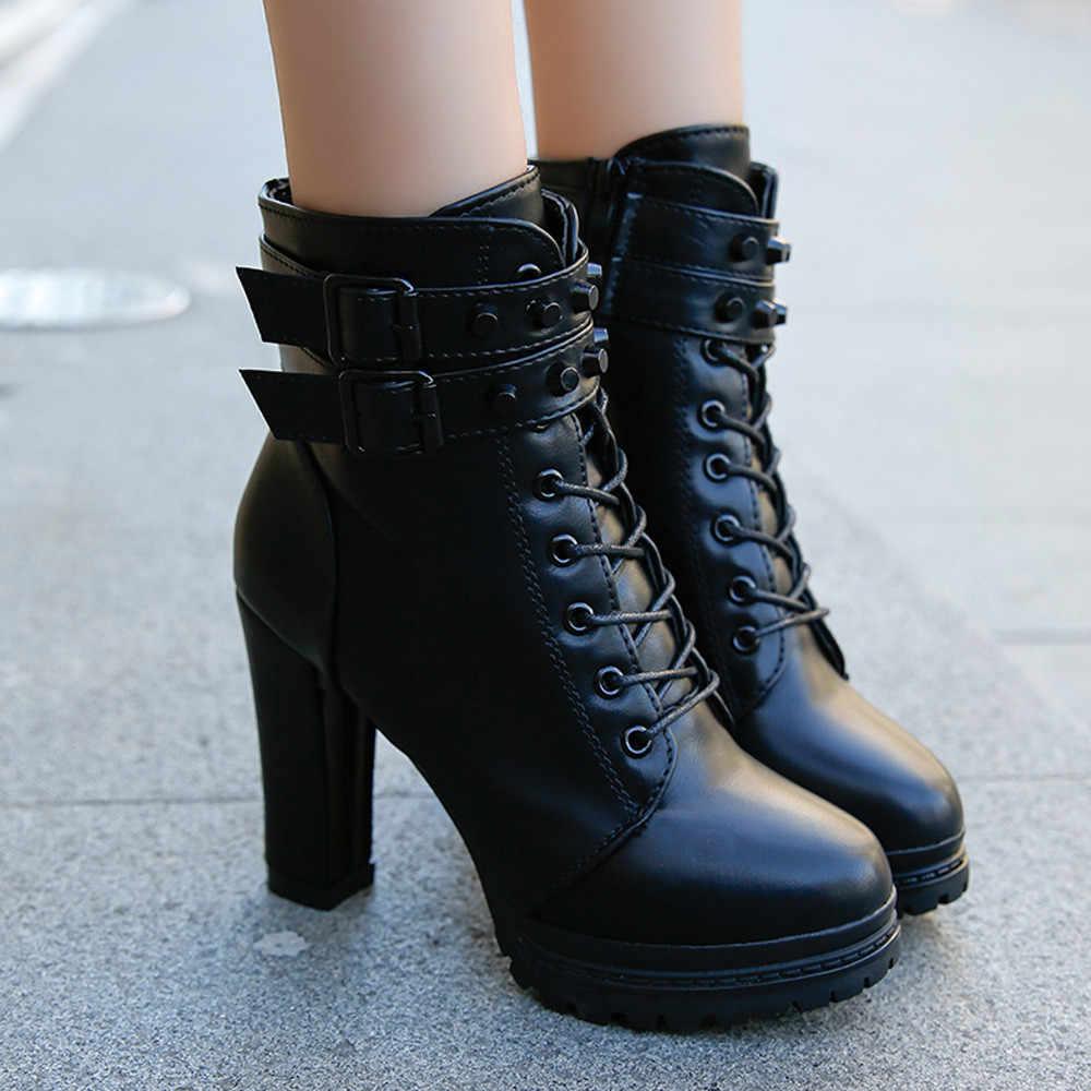Botas cortas para mujer Zapatos de tacón alto remache botas de invierno Casual de cuero con cordones de Color sólido zapatos de punta redonda para mujer botas de invierno