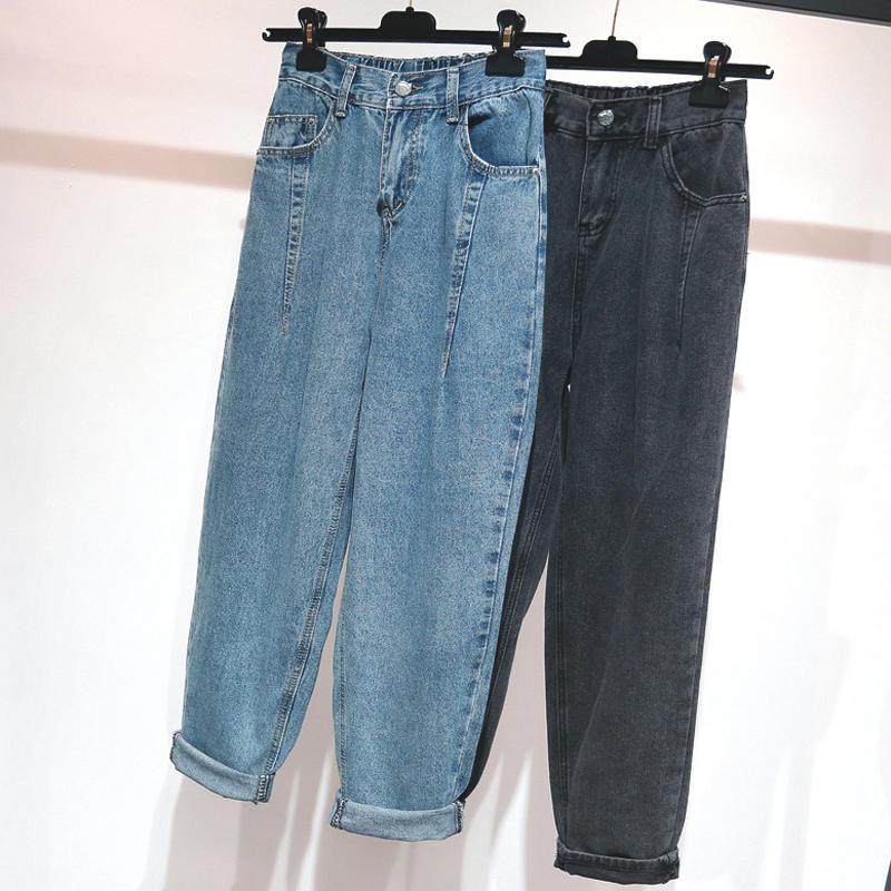 Boyfriend Jeans For Women Denim Harem Pants Stretch Large Size 5XL High Waist Jeans Female Streetwear Mom Jeans Trousers Q1989