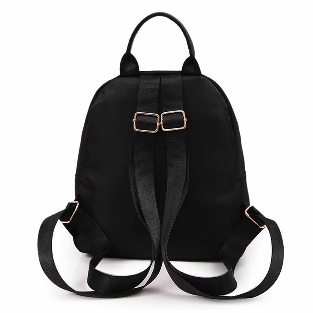Kadın kız bez sırt çantası öğrenci çantası seyahat okul sırt çantası Vintage Oxford kumaş katı fermuar yumuşak sırt çantaları öğrencileri