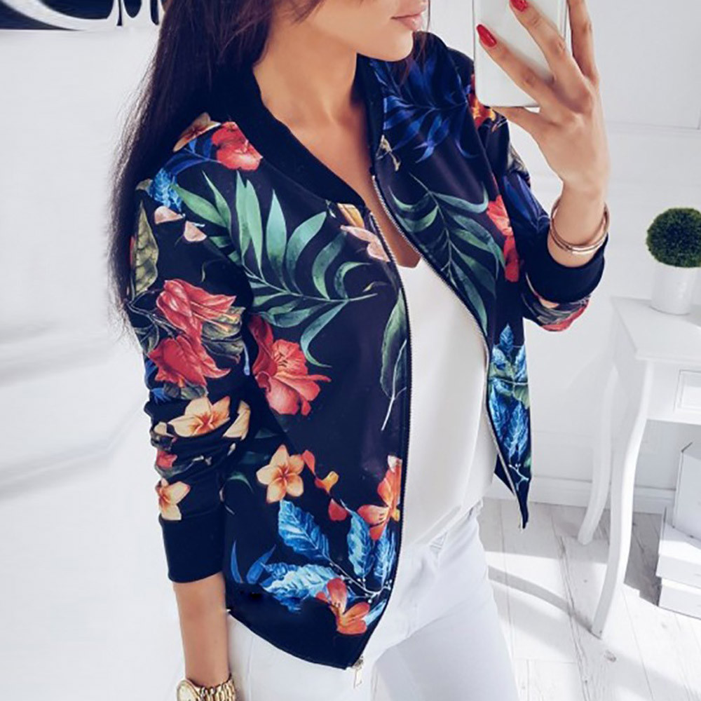 Outerwear Coats Jackets Womens Ladies Retro Floral Zipper Up Bomber Outwear Casual coats and jackets women 2020#3s