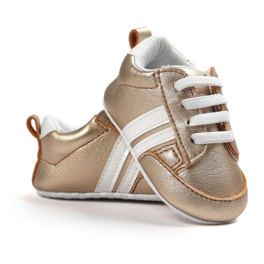 2020 Baby Shoes Newborn Boys Girls Two Striped First Walkers Kids Toddlers Lace Up PU Leather Soft Soles Sneakers 0-18 Months 6