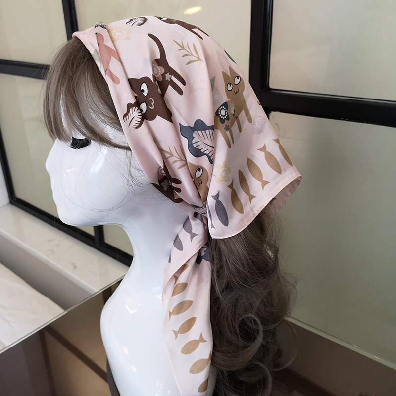 Luxury Brand 2020 New Designer Silk Square Scarf Women Cat Painting Satin Neck Hair Tie Band Beach Hijab Head Female Foulard